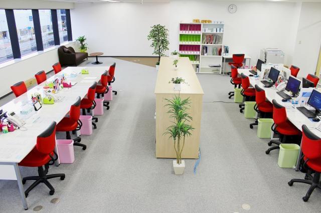 ゆったりとしたオフィスだから仕事もはかどる♪スタッフ同士仲良く協力しながら働いています!