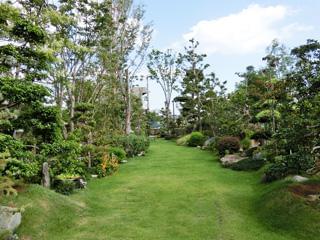 ▲弊社展示場の様子。お客様に実際の花木を見てイメージしていただけるようなお庭の提案をしています。