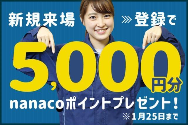 新規来場・登録で nanacoカード5000円分プレゼント! ※1人1回限り※規定有
