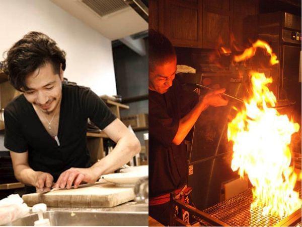 高知直送の新鮮なカツオを、豪快に藁焼きするパフォーマンスも人気です!