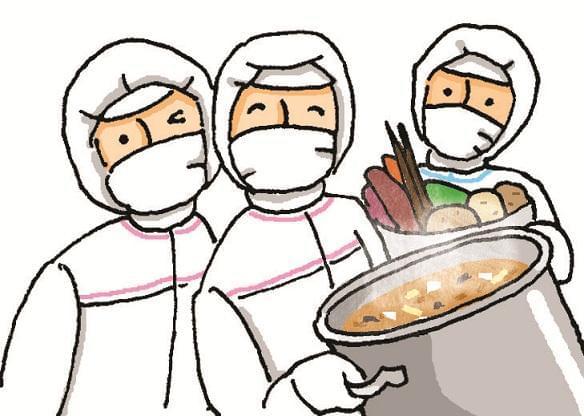 子どもたちの口に入るものだから、衛生面は何よりも大切。丁寧に給食を作っていってくださいね。